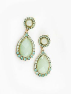 Green Gemstone Gold Crystal Stud Earrings pictures