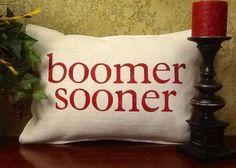 BOOMER SOONER Stenciled Burlap Pillow on Etsy, $40.00