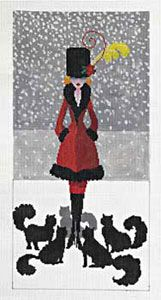 Lady with Cats    37 - 18ct  37b - 13ct    Lady with Cats handpainted on 18ctA fashionable lady out for a walk in Central Park. The cats know what's really in her heart. This is a great canvas for stiches. Use a different stitch for each cat, an open stitch for the background and don't forget metallics for the snow. Finished size 7.75 x 15.75 on 18ct or 10.75 x 21.75 on 13ct. 18ct canvas complete with stich guide.    Stitchguide is available independently, please call for details.