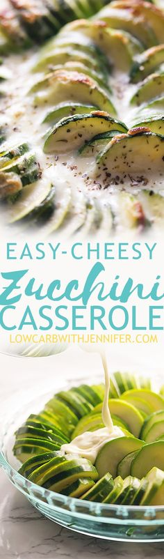 Baked zucchini casserole is slices of zucchini doused in a luscious Monterey jack cheese sauce. The perfect side dish for any low carb Thanksgiving dinner.