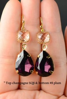 Blush Champagne Eggplant Earrings Gold Purple by thefabbridal3