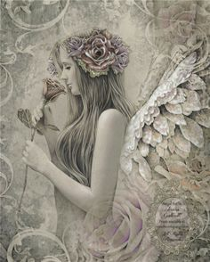 SILENT REVERIE Victorian inspired angel art 17 inch x 22 inch giclee print from original angel drawing by Jessica Galbreth Angels Among Us, Angels And Demons, Angels And Fairies, Elfen Tattoo, Angel Drawing, I Believe In Angels, Earth Design, Angels In Heaven, Heavenly Angels