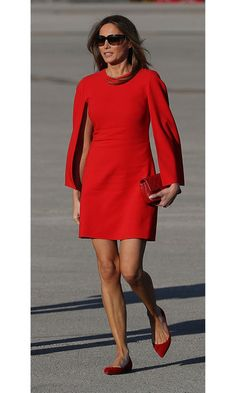 In her first post-inauguration appearance, Melania went for French style from head to toe as she arrived in Palm Beach on Super Bowl weekend, wearing a Givenchy dress that she paired with matching Christian Louboutin flats. Photo: Joe Raedle/Getty Images