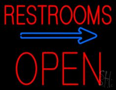 Restrooms Block Open Neon Sign 24 Tall x 31 Wide x 3 Deep, is 100% Handcrafted with Real Glass Tube Neon Sign. !!! Made in USA !!!  Colors on the sign are Blue and Red. Restrooms Block Open Neon Sign is high impact, eye catching, real glass tube neon sign. This characteristic glow can attract customers like nothing else, virtually burning your identity into the minds of potential and future customers.