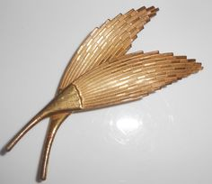 Miriam Haskell Feather Double Brooch Pin by Libbysmomsvintage