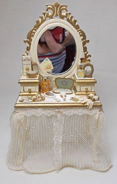 Dolls house Miniature A&R Miniatures Filled Ladies Dressing Table in Dolls & Bears, Dolls' Miniatures & Houses, Kitchen Fittings & Appliances | eBay