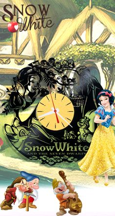 #vinyl_clock with #snowwhite_and_seven_dwarfs #disney #christmas_present #disney_princess  #home_decor #home_decorating_ideas #decor
