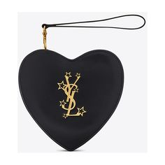 Saint Laurent LOVE Heart Clutch in Black Leather ($1,475) ❤ liked on Polyvore featuring bags, handbags, clutches, heart handbag, yves saint laurent handbags, leather purses, genuine leather purse and heart shaped purse