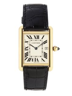 """Classic, vintagey-looking men's timepieces–my Franck Muller, Cartier, and Hermès."" Cartier watch, $9,300, 800-CARTIER.   - HarpersBAZAAR.com"