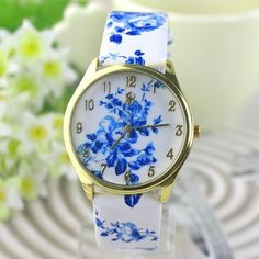 Fashiontrends4everybody: Fashion teenage floral leather woman watch
