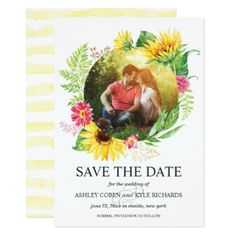 Sunflower Save the Date Card - rustic gifts ideas customize personalize