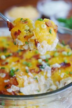 Cauliflower {Just Like} Loaded Baked Potato Casserole ~ you certainly will not miss the potato. This has all the loaded flavor without it! www.thekitchenismyplayground.com