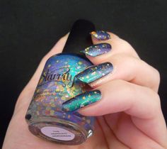 Squeaky Nails: Swatches - Starrily: The Headless Horseman over black http://www.squeakynails.com/2014/09/swatches-starrily-headless-horseman.html