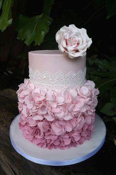 Ruffle Petal Tutorial by Charlotte from Let's Eat Cake Fondant Ruffles, Fondant Flowers, Fondant Cakes, Buttercream Ruffles, Pretty Wedding Cakes, Pretty Cakes, Gorgeous Cakes, Amazing Cakes, Ruffle Cake Tutorial