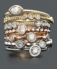 Stackable Diamond Rings in Gold, White Gold and Rose Gold - Rings - Jewelry & Watches - Macy's Gold Rings Jewelry, Pandora Jewelry, Jewelry Watches, Fine Jewelry, Jewlery, Pandora Rings, Diamond Jewelry, Bullet Jewelry, Pandora Bracelets