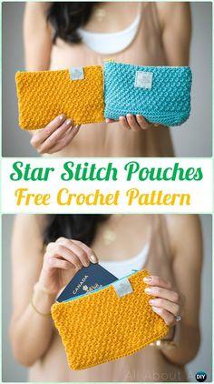 Crochet Star Stitch Pouches Free Pattern - Crochet Clutch Bag & Purse Free Pattern