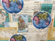 World map canvas map fabric made in spain maps patchwork cushions globes world map fabric novelty fabric world map globe gumiabroncs Gallery