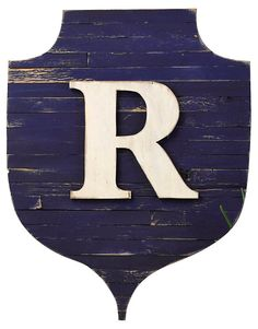 Rustic Monogram Shield, Navy | All for the Wall | One Kings Lane