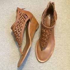 Bcbg Generation Gladiator Low Wedges Size 7 BCBGeneration Cognac (brown) gladiator low heeled wedges with zip back. Size 7. All manmade materials. Never worn. No tags. BCBGeneration Shoes Sandals
