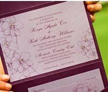 Purple green orchid invitation