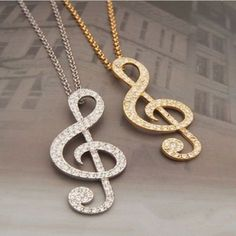 Ed38 Large Crystal Silver & Gold Musical Note Sweater Necklace
