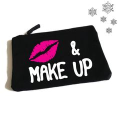 Kiss And Make Up. Funny Makeup Bag. Accessory Bag. Cosmetic Bag. Funny MakeUp Slogan. Make Up Bag by SoPinkUK on Etsy