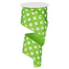 "Large Polka Dot Ribbon - Lime Green/White (RG158833) - 2.5"" x 10 yds"