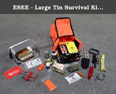 ESEE - Large Tin Survival Kit and Pouch - Orange. ESEE Survival Kit w/ Pouch - Orange, developed by Randall's Adventure & Training as a portable survival kit, is an item any hiker should consider adding to their Daily Pack. With all the items you could need for emergency Survival in the Wild, this compact Kit comes with it's own Pouch for portability and protection from the elements. Contents: (Subject to Change) Emergency Blanket Rapid Rescue Orange Whistle Survival Card Set Navigational...