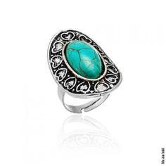 Anel com corações e pedra azul turquesa em prata envelhecida