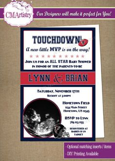 Personalized NFL Falcons Football Baby Shower Photo Invitations **Need them today? DIY Printing Available**