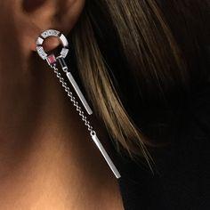 Regina diamond Swing earrings with Australian black sapphire and ruby.