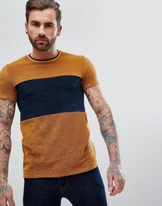 ASOS T-Shirt In Towelling With Cut And Sew Body Panel And Tipping In Tan