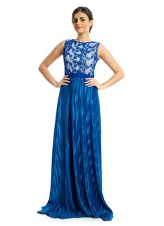 Spark up the evening with a hint of glamour and sophistication in this flattering number by Xela! This maxi dress features royal blue sheath silhouette with a zipper closure at the back and lace details to produce that feeling of elegance to every woman. Charming and fabulous choice for perfect evening look.