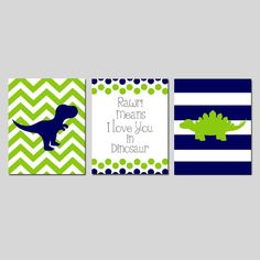 DINOSAUR Nursery Art Trio Baby Boy Nursery  RAWR Means by Tessyla