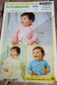 BABY Knits Those Beautiful Days Patons 393 vintage knitting pattern 3 ply yarn  #Patons