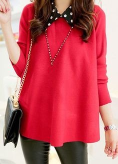 Red Long Sleeve Turndown Collar Sweater  on sale only US$32.08 now, buy cheap Red Long Sleeve Turndown Collar Sweater  at lulugal.com