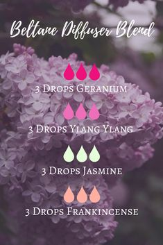 A Beltane essential oil diffuser blend featuring geranium, ylang ylang, jasmine and frankincense - a preview of The Modern Witch's Guide to Beltane online course!