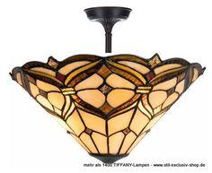 EXTRA-Modell!  40ø, beliebte TIFFANY-Pendel-Lampe, unsere grosse Serie CHARLES.  40ø, ca.38 cm hoch. 2 x E27/ je 60W.  ...aus braun- und goldfarbigen TIFFANY-Glasteilen liebevoll per Hand zusammengefügt.  Bei einigen Fotos fehlen die unteren fixierenden Zier-Abschluss-Knöpfe, die sind selbstverständlich bei der Lieferung dabei !