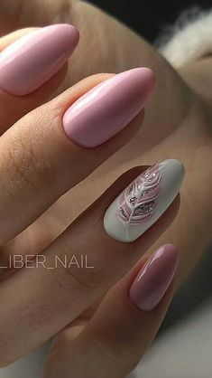 Over 50 beautiful nail design ideas for feather nails - page 74 of 99 - nail-de . , Over 50 beautiful nail design ideas for feather nails - page 74 of 99 - nail-de . Cute Nails, Pretty Nails, My Nails, Pink Gel Nails, Silver And Pink Nails, Shellac Nails Fall, Almond Gel Nails, Pink White Nails, Soft Pink Nails