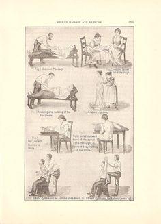 1901 German Massage and Exercises Medical Ephemera Illustrated Page