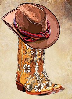 cowboy boots cowboy hat png clip art by DigitalGraphicsShop Cowboy Art, Cowboy And Cowgirl, Cowboy Boots, Westerns, Vaquera Sexy, Line Dance, Country Line Dancing, Stylist Tattoos, Paint And Drink