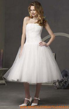 Schönes Brautkleid kurz aus Organza A-Linie kaufen online