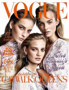 Ine Neffs, Julia Bergshoeff, Maartje Verhoef by Alique on the cover of Vogue Netherlands April 2015