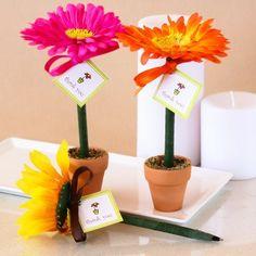 Flower Pot Pen Favors ... I like them in the little mini flower pots.