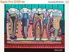 Diente de 65% off surrealista arte Art Print por HeatherGallerArt