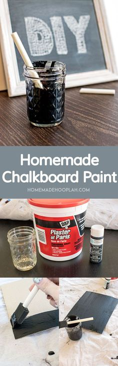 Homemade Chalkboard Paint! Create your own trendy message boards & labels with this recipe for homemade chalkboard paint.   HomemadeHooplah.com