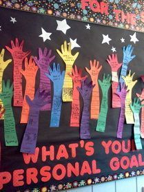 Raise your hand and share a goal! After setting SMART goals with the kids, could make a bulletin board l Raise your hand and share a goal! After setting SMART goals with the kids, could make a bulletin board like this showcasing them. Counseling Bulletin Boards, Classroom Bulletin Boards, School Classroom, Health Bulletin Boards, Space Classroom, Preschool Bulletin, Classroom Decor, Goal Setting For Students, Student Goals