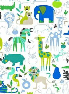 Monkey's Bizness - Zoo Bisou - White - by the De Leon Design Group for Alexander Henry Fabrics Safari Animals, Animals For Kids, Kids Prints, Stuffed Animal Patterns, Surface Pattern Design, Painting For Kids, Art Lessons, Print Patterns, Alexander Henry