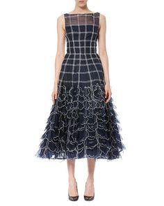 CAROLINA HERRERA Sleeveless Grid-Illusion Midi Dress, Navy/White. #carolinaherrera #cloth #