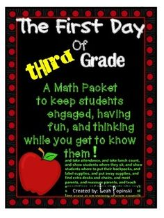 This first day of school math packet is not only fun (and will keep them busy for several days), but is a way for you to get real information about your new students with a twist. You'll learn about their likes and dislikes, strengths and weaknesses. There are many math skills included as well as two pages that are great for displays for Back to School Night. Suggestions for how to use the packet for analysis of student work are included.